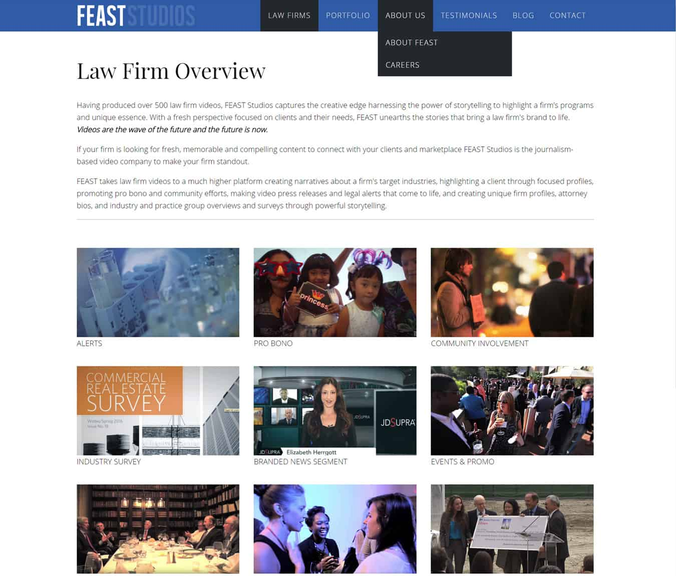 Feast Studios website